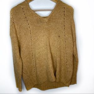 American Eagle tan open knit sweater NWOT XS